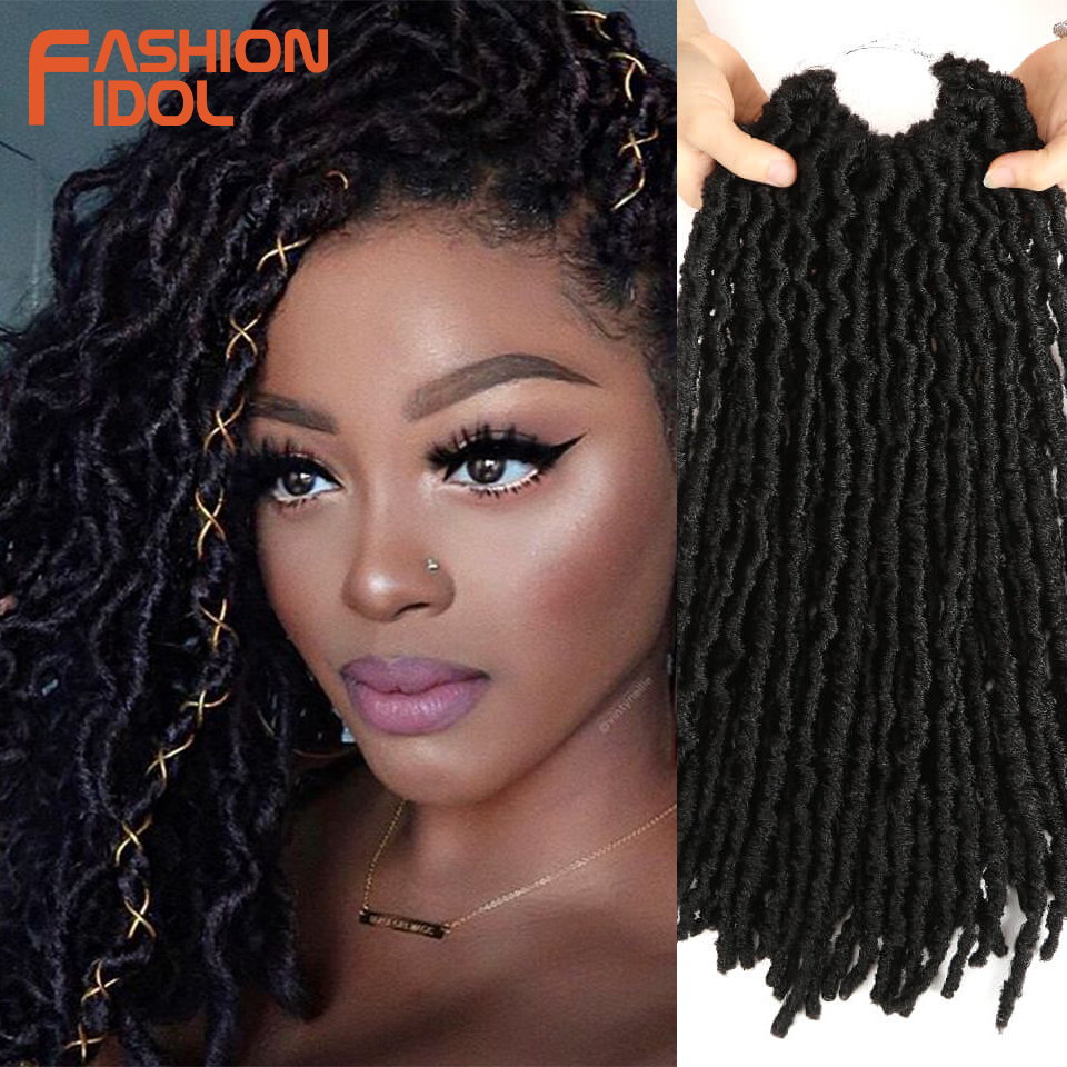 FASHION IDOL Afro Faux Locs Crotchet Hair Extensions Ombre Red Blue Brown 18 Inch Reggae Crochet Braids Synthetic Hair For Women