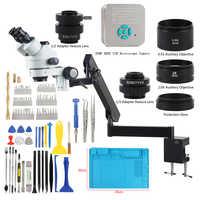 3.5X-90X Trinocular Stereo Microscopio Articulating Arm Clamp 36MP 4K Microscope camera for soldering pcb cpu phone repairing