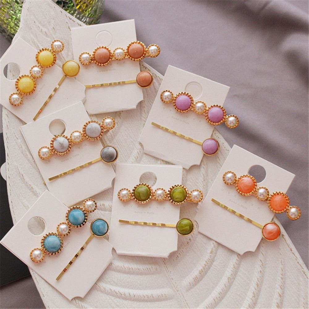 2pcs/set Fashion Candy Pearl Geometric Round Hairpins Hair Headwear Hair Clip Sweet Wedding Party Barrettes Jewelry For Gift