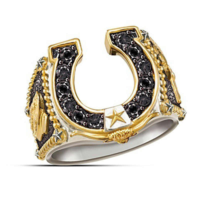 Luxury Hollow Out U Shape Horseshoe Ring Western Cowboy Dual Color Star Symbol Micro Paved Black CZ Stone Rings for Men Z4T362