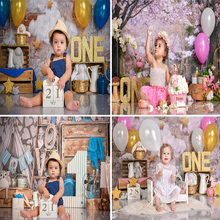 Flores cor de rosa fundo da foto backdrops bolo quebra balão crianças festa de aniversário fundo photocall photo studio