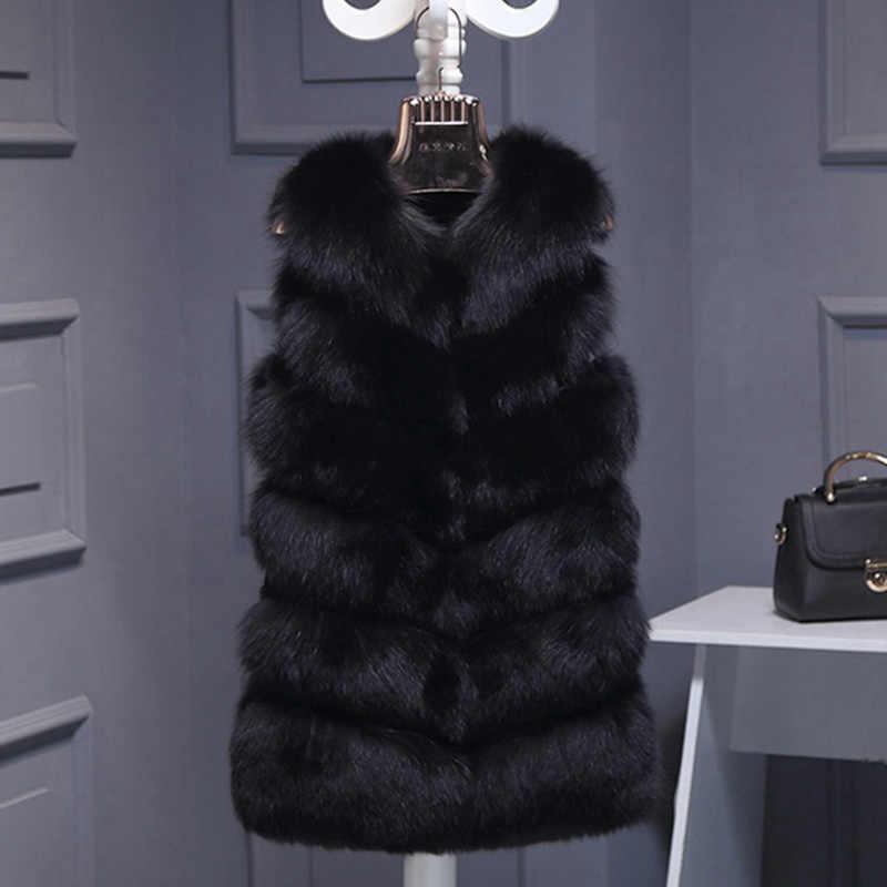 2019 faux fox fur vest female Fake Fur coat winter fur vest luxury  ladies fur jacket gilet vest thick warm