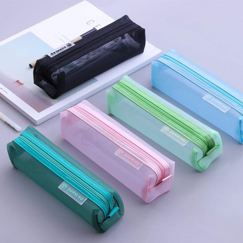 School Mesh Pencil Cases Kawaii Cute Solid Color Transparent Pencil Box Pencil Pouch School Student Pen Bag Supplies Stationery