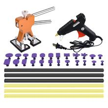 Auto Body Paintless Dent Removal Tools Kit Bridge Dent Puller Kits with Hot Melt Glue Gun and Glue Sticks for Hail damage super pdr tools paintless dent repair tool auto car body dent puller pulling bridge hot melt glue sticks for hot melt glue gun