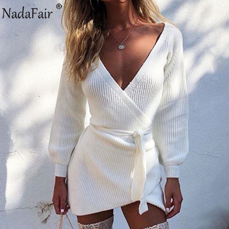 Nadafair White V Neck Sweater Dress Autumn Long Sleeve Lace Up Wrap Casual Tunic Mini Knitted Dress Women Winter Dress