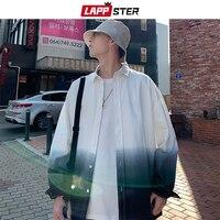LAPPSTER Men Tie Dye Streetwear Shirts Long Sleeve 2019 Autumn Mens Harajuku Korean Fashions Shirts Button Up Casual Shirt XXL