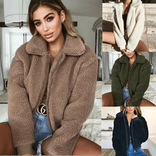 2019 Autumn Winter Ladies Jackets Long Sleeve Thicken Warm Outerwear Womens Pocket zipper Lapel Artificial Lamb Down Loose Coat