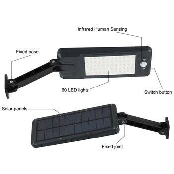 60 diod led na zewnątrz światła słonecznego PIR czujnik ruchu, odporny na deszcz, IP65 pilot zdalnego sterowania oswietlenie ogrodu słonecznego ścianie lampa indukcyjna