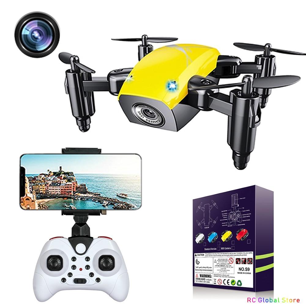 S9 s9hw mini rc zangão com câmera hd fpv dobrável rc quadcopter altura segurar helicóptero wi fi fpv micro saco zangão