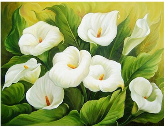 Lily Flower 25x35cm New DIY 5D Diamond Painting Kits Diamond Embroidery Art Painting Pasted Paint by Number Kits Stitch Craft Kit Home Decor Wall Sticker
