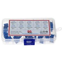 50 unids/caja 3296W multivuelta potenciómetro de ajuste de alta precisión de resistencia Variable con Kit de caja