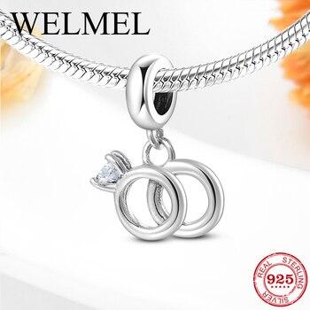 Nuevo abalorio de plata de ley 925 con forma de anillo de zirconia transparente, abalorio colgante compatible con pulseras originales de mujer, fabricación de joyería fina DIY para mujer