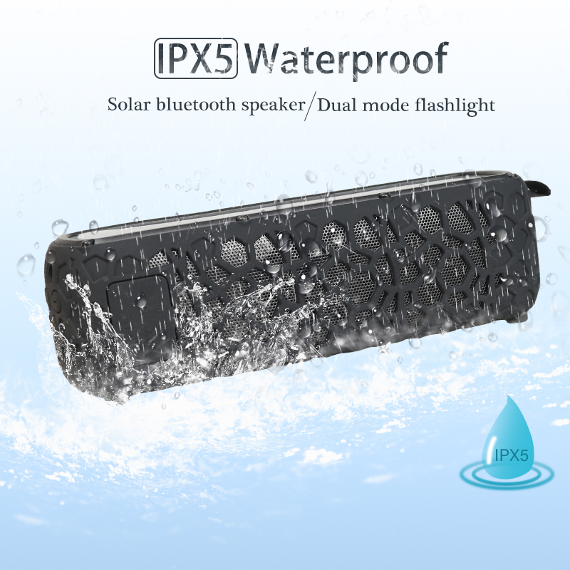 T65 Portable Waterproof Solar Bluetooth Speaker with LED light and Built-in Mic Compatible for iPhone Samsung Smart Devices