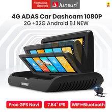 Junsun wideorejestrator samochodowy 8 Cal rejestratorów 4G Android 8.1 FHD 1080P wideorejestrator nawigacji GPS ADAS Monitor zdalny kamera na deskę rozdzielczą podwójny obiektyw