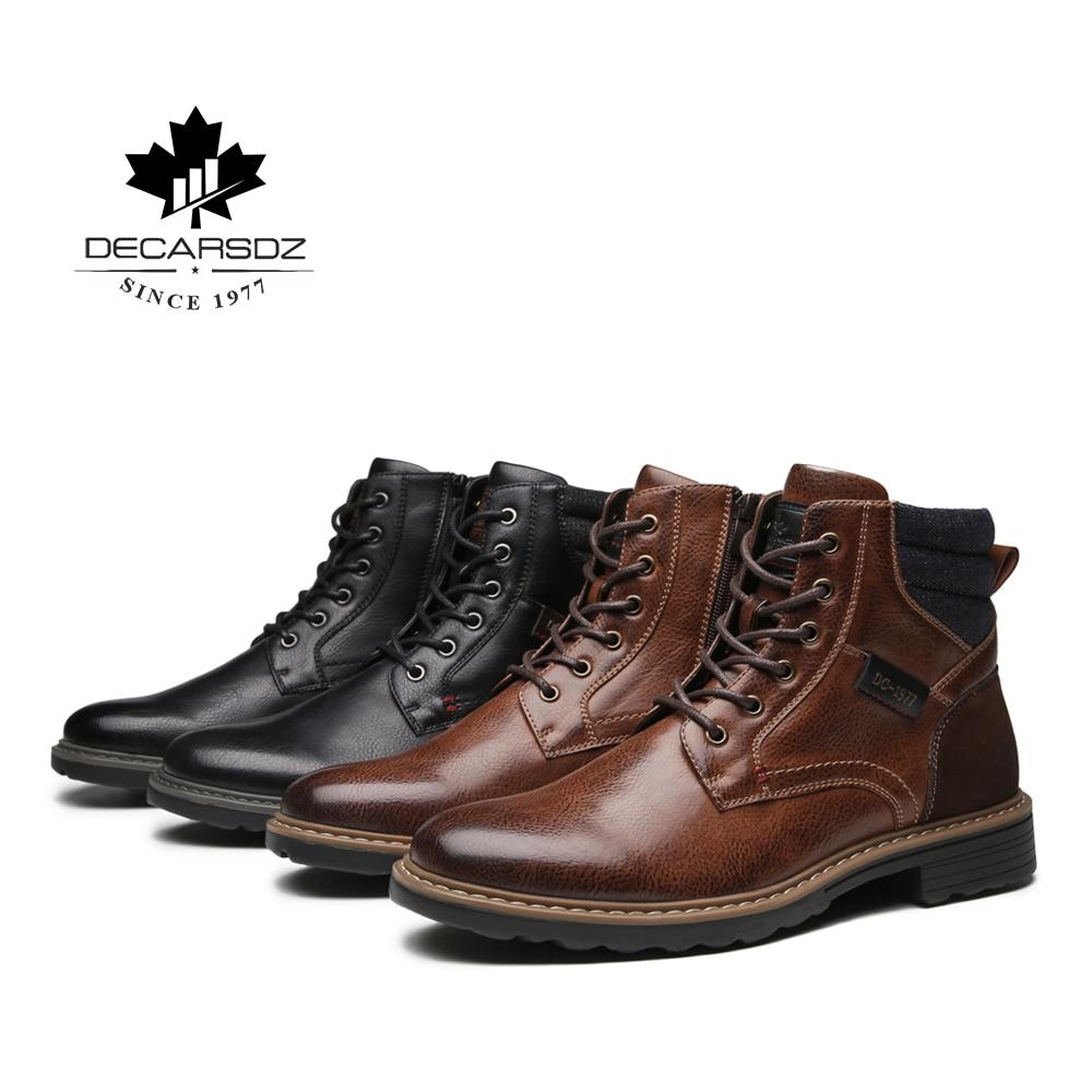 DECARSDZ Men Boots Comfy Lace-up High Quality Leather Men's Boots 2020 Autumn Fashion Shoes Man Durable outsole Men Casual Boots 6