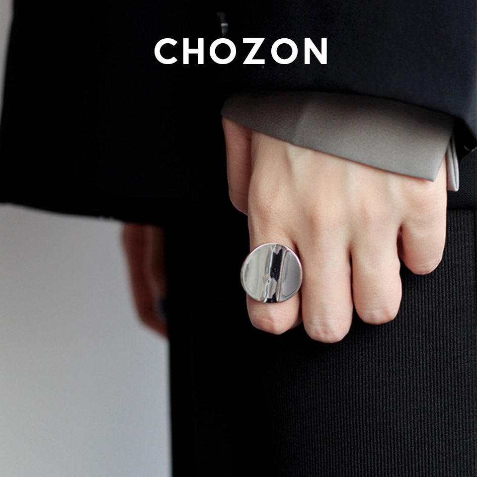Minimalist European American S925 sterling silver round ring female ins wild exaggerated concave mirror ring opening cold wind
