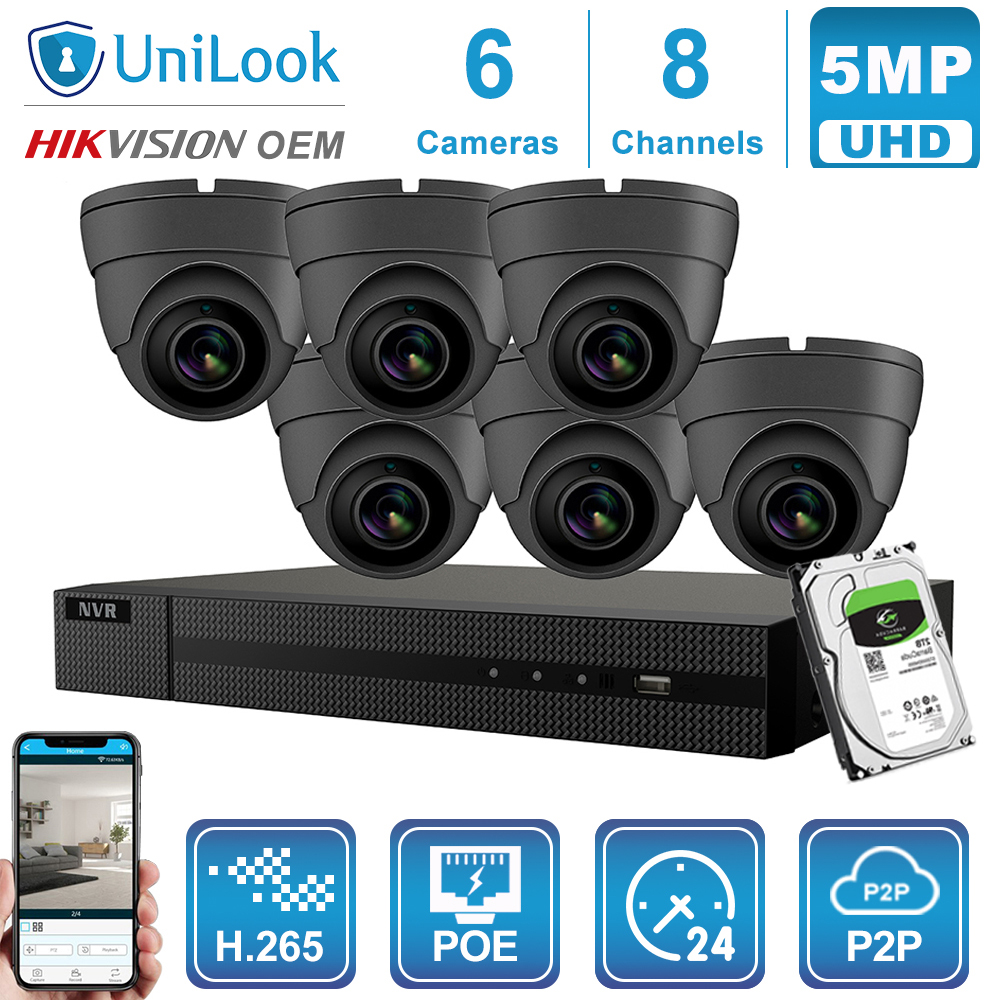 Hikvision OEM 8CH 4K NVR 5MP White/Gray POE IP Camera 4/6/8PCS ONVIF Outdoor Security Systems CCTV NVR Kits With 1/2/4TB HDD