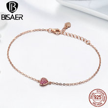 BISAER 100% 925 Sterling Silver Romantic Love Heart Pink CZ Rose Gold Color Women Link Bracelet Valentine Day Gift Bijoux GXB050 bisaer authentic 925 sterling silver gold color mosaic red cz heart pendant necklace for women valentine s gifts jewelry gan014