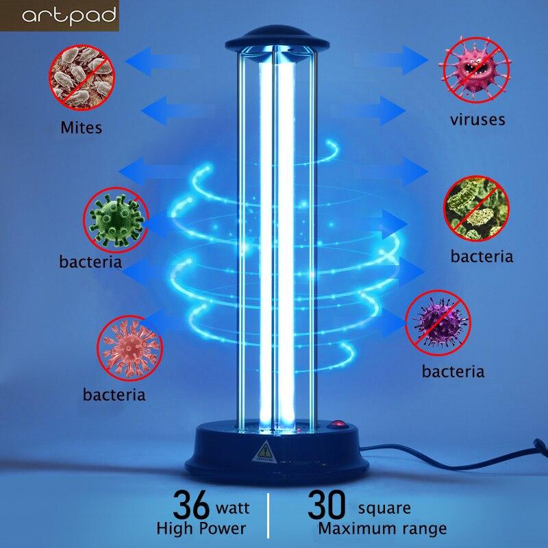 36W UVC Sterilizer Kill Dust Mite Eliminator UV Quartz Lamp For Bedroom Hospital Disinfection Lamp Kill Bactericidal Light