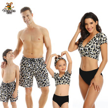 Leopard Short Sleeve Swimsuit Family Matching Outfits Look Mother Daughter Swimwear Mommy And Me Bikini Father Son Beach Shorts leopard swimsuits family matching swimwear mother daughter bikini dad son swim trunks mommy and me family outfits look e0200