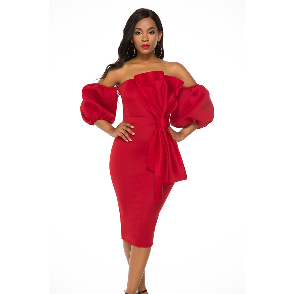 2019 Autumn Sexy Fashion Style African Women Solid Plus Size Knee-length Dress S-XXL