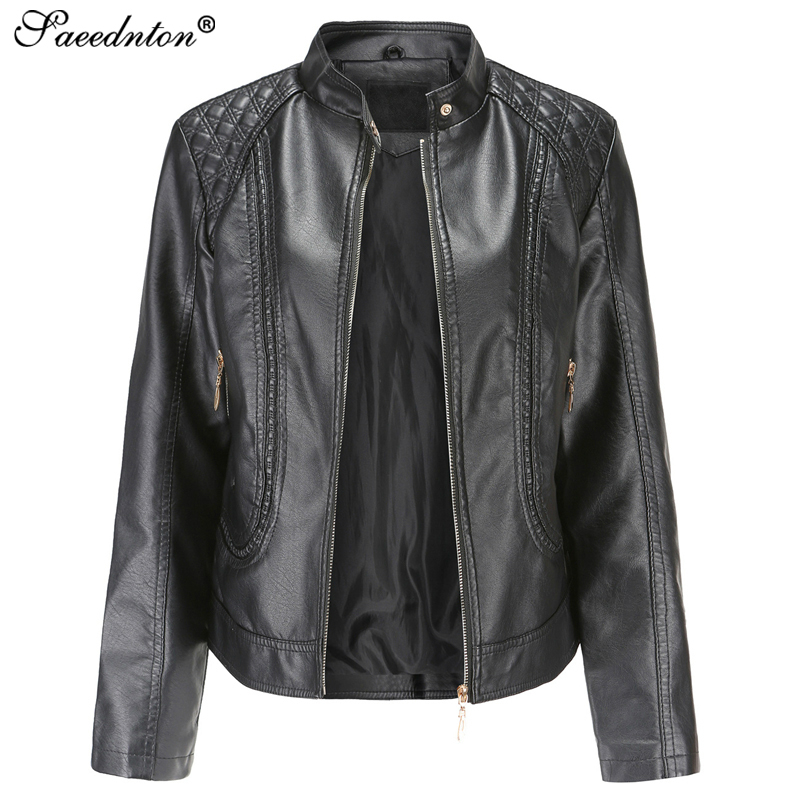 2019 Autumn New Artificial Pu   Leather   Jacket Women Fashion Bright Colors Black Motorcycle Coat Short Faux   Leather   Biker Jacket