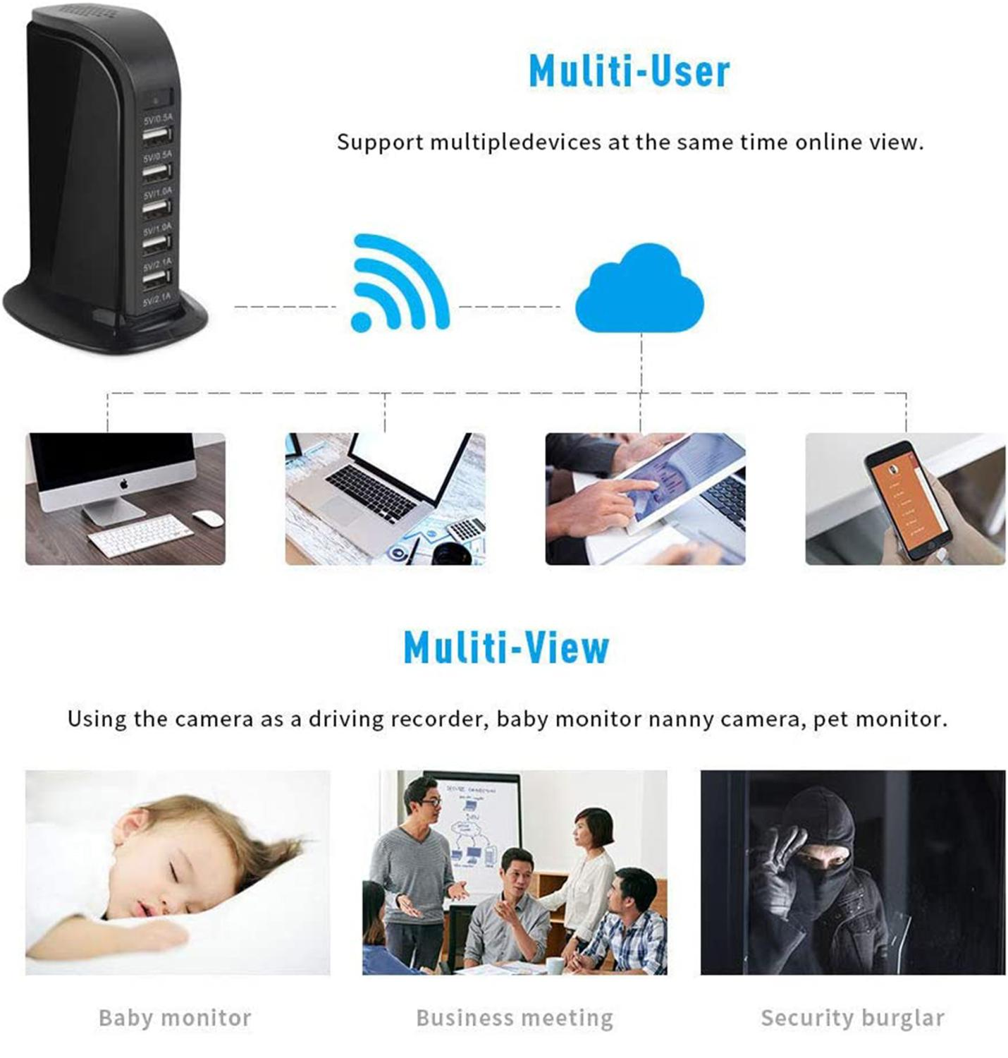 New HD 4K Mini Wifi Charger Camera Real-time Surveillance Motion Detection Loop Recording Wireless Recorder support Hidden TF 3
