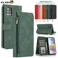 Leather Case Voor Samsung Galaxy A51 A71 A52 A72 A21S A32 A42 A12 A31 A11 A50 A30 S A20 A10 E A81 A91 Rits Flip Phone Bag Cover