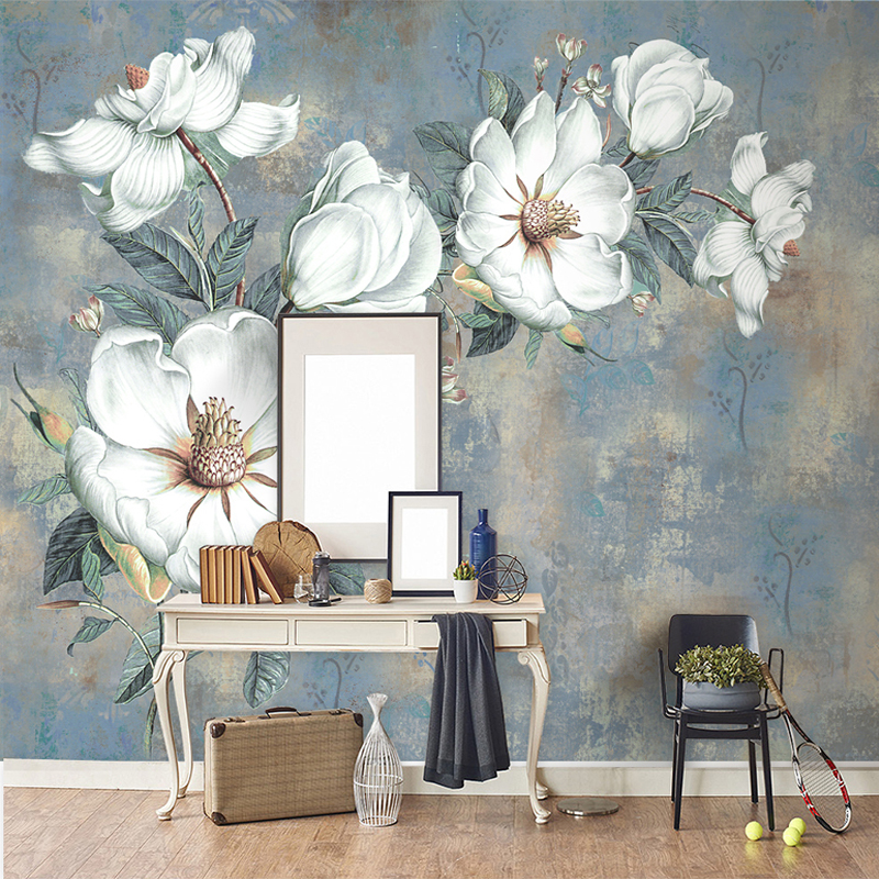 Drop Shipping Custom Wallpaper Murals European Style Retro Art Abstract Oil Painting Flowers Wall Mural Painting Wallpaper