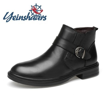 Genuine Leather Mens Boots Business Office Formal Boots Male Comfortable Dress Shoes High Quality Brand Casual Boots Erkek B