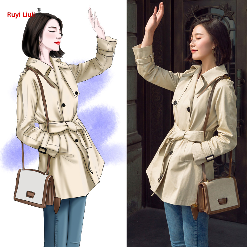 Trenchcoat female chun qiu new fund han edition is small thin money loose close waist short paragraph coat
