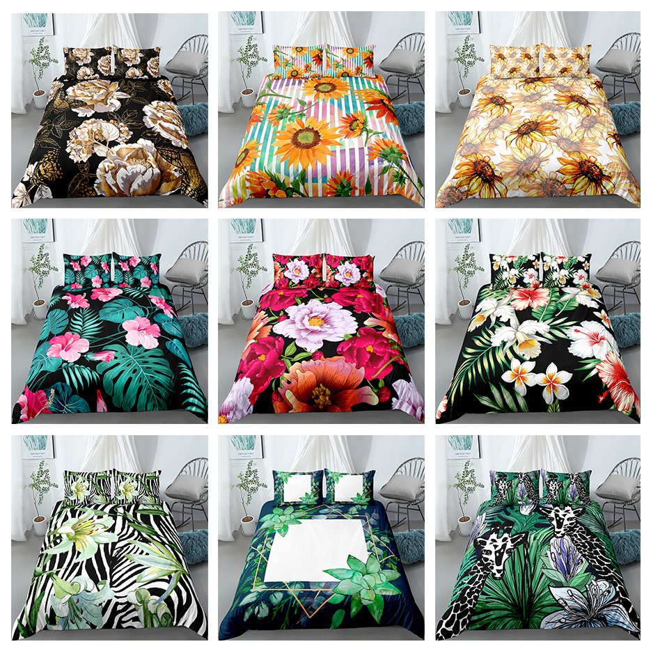 3D Flowers Fruits Animals Printed Bedding Set Quilt Covers With Pillowcase Set