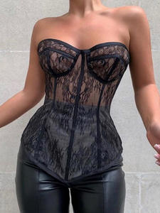 Jillperi Solid-Tops Outfit Corset Strapless Sexy See-Through Street-Wear Lace Fashion