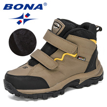 BONA 2020 New Designers Outdoor Hiking Boots Kids Leather Mountain Boots Children Climbing Sport Snow Shoes Boys Plush Warm