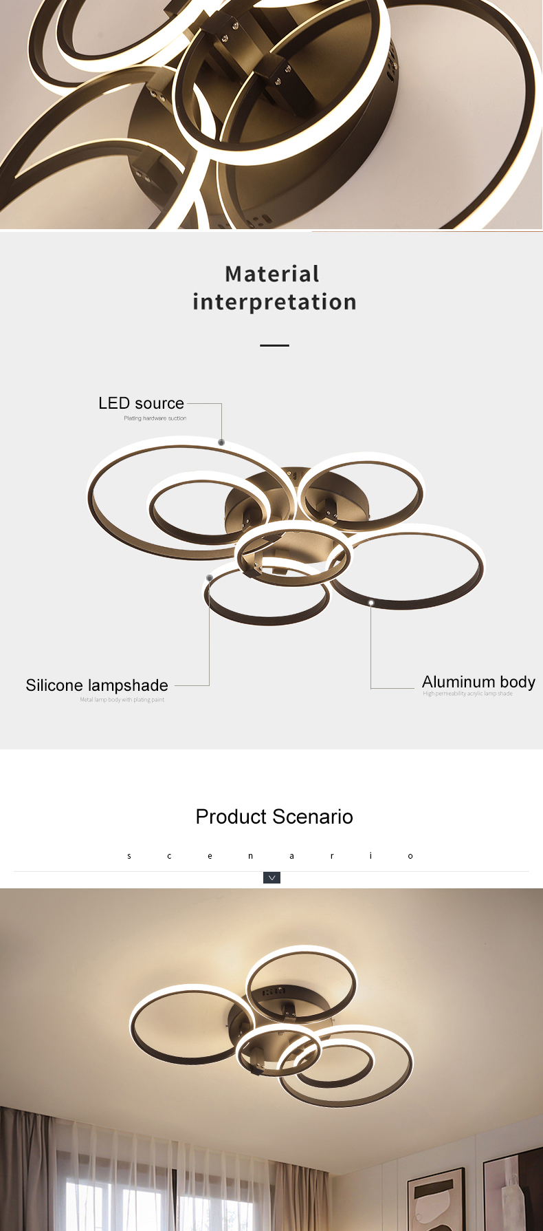 Moderno led luzes de teto lâmpada rc