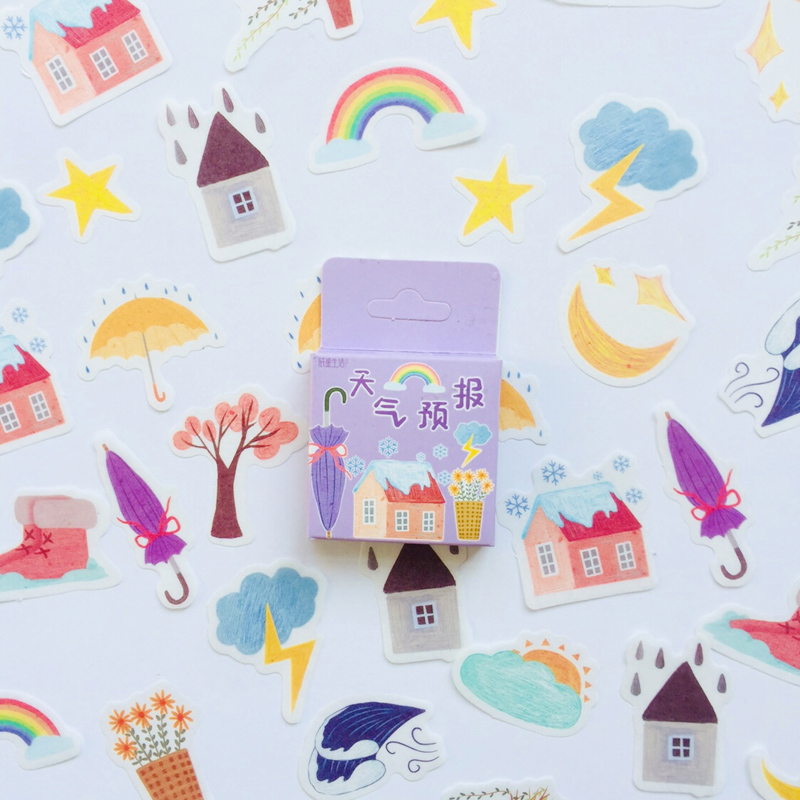 45 Pcs /Box Summer Style Rainbow Weather Washi Paper Decorative Stickers