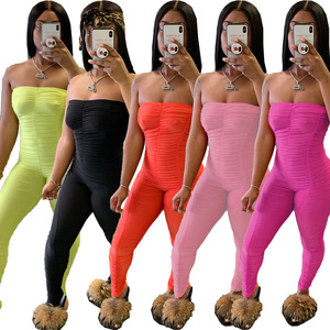 Sexy Off Shoulder Stacked Jumpsuit Women Backless Bandage Bodycon Romper Summer 2020 Fitness Skinny One Piece Outfits Plus Size