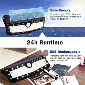 Image 4 - USB akumulator PIR Motion reflektory LED Motion lampa słoneczna zewnętrzna kinkiet Home Garden Yard chodnik bezpieczeństwo światła uliczne
