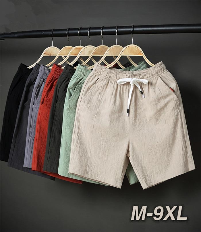 2020 Shorts Summer Men Loose Stretched Cortos Black Khaki Blue Thin Cotton Man Plus Size 6XL 7XL 8XL 9XL Oversized Beach Short