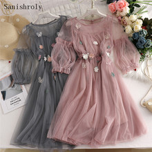 Sanishroly Summer Autumn Women Long A-Line Dress Sweet Floral Butterfly Lace Dress Female Short Sleeve Mesh Dress Vestidos CD086