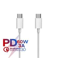Cabo usb c para carregamento rápido de celular, para apple ipad macbook pro huawei xiaomi samsung pd cabo de energia c