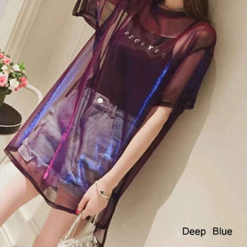 Kawaii Women Mesh Transparent T-Shirt Short Sleeve Tee Tops Cover up + Camisole Vest Female Casual Summer Dress Tops