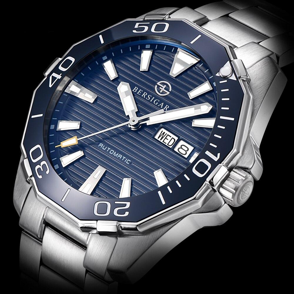 Bersigar 2021 relógio mecânico automático 100m à prova dwaterproof água esportes negócios relógio de pulso japão nh36 aço inoxidável relógio masculino