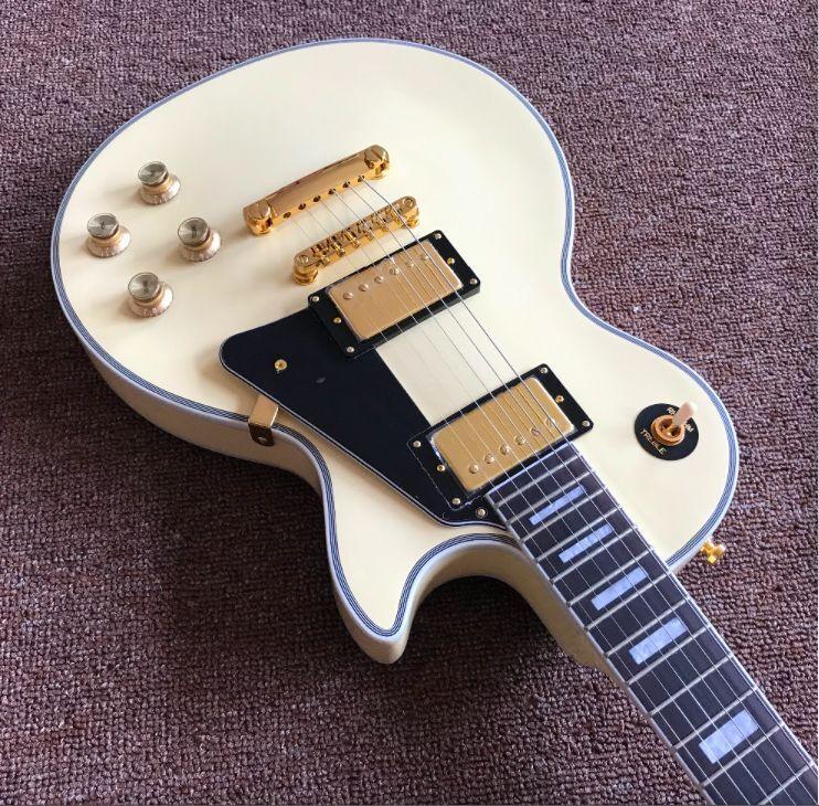 Custom  60   cream color electric guitar,black  pickguard with Gold color hardware gitaar,custom guitarra249 (1)