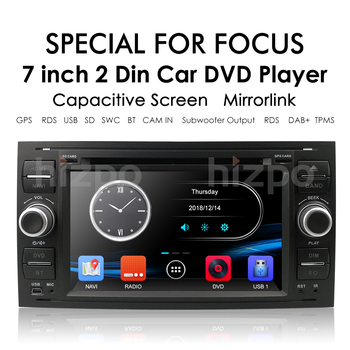 2Din Car AutoRadio GPS DVD Player for Ford Transit Focus Galaxy S-Max C-Max Fusion Fiesta SWC Built In Game Customize Background image