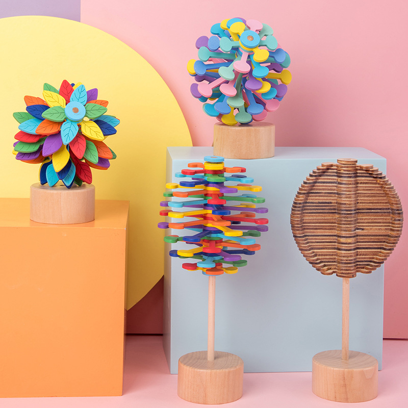 Wooden Rotary Stress Relief Spin Lollipop Toys Creative Decompression Rotating Lollipop Fun Magic DIY Toys Children Adult Gifts