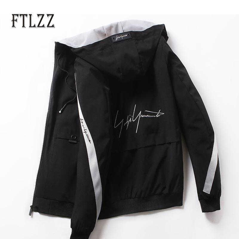 Chaqueta corta de moda para hombre nueva 2019 primavera otoño casual con capucha con cremallera letras impresas Abrigos Hombre calle negro ropa de
