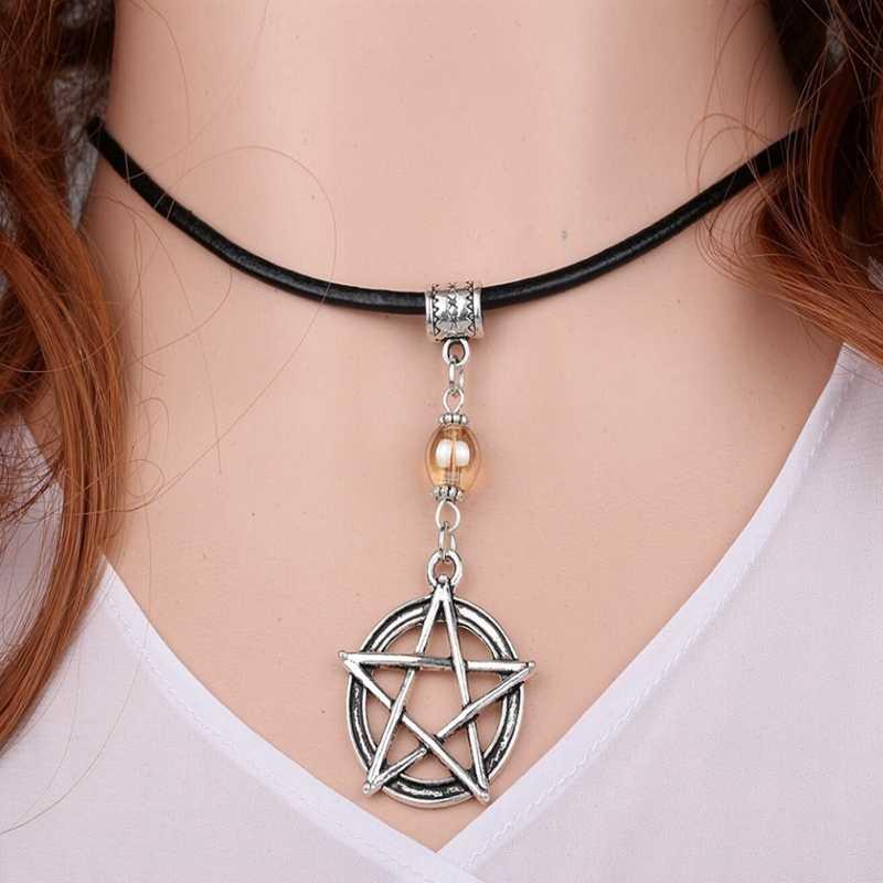 Nàng Tiên Cá Vòng Cổ Siêu Nhiên Pentagram Chó Choker Da Cổ Đầm Mặt Dây Chuyền Cây Dừa Trang Sức Dành Cho Nữ