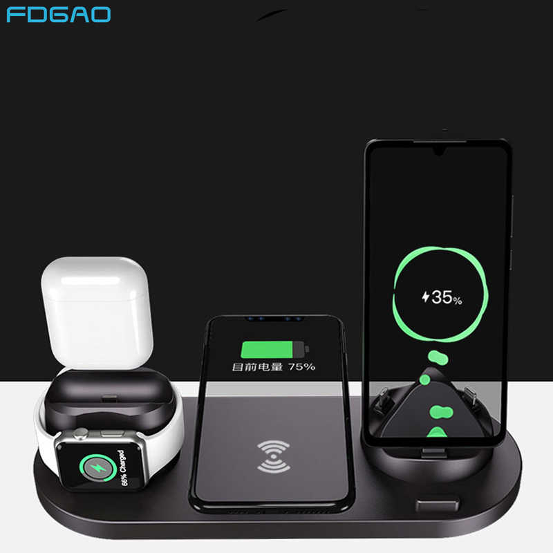 FDGAO 6 ב 1 אלחוטי מטען Dock תחנה עבור iPhone/סוג-C/USB 10W Qi מהיר טעינת Stand עבור אפל שעון 5 4 3 2 AirPods פרו