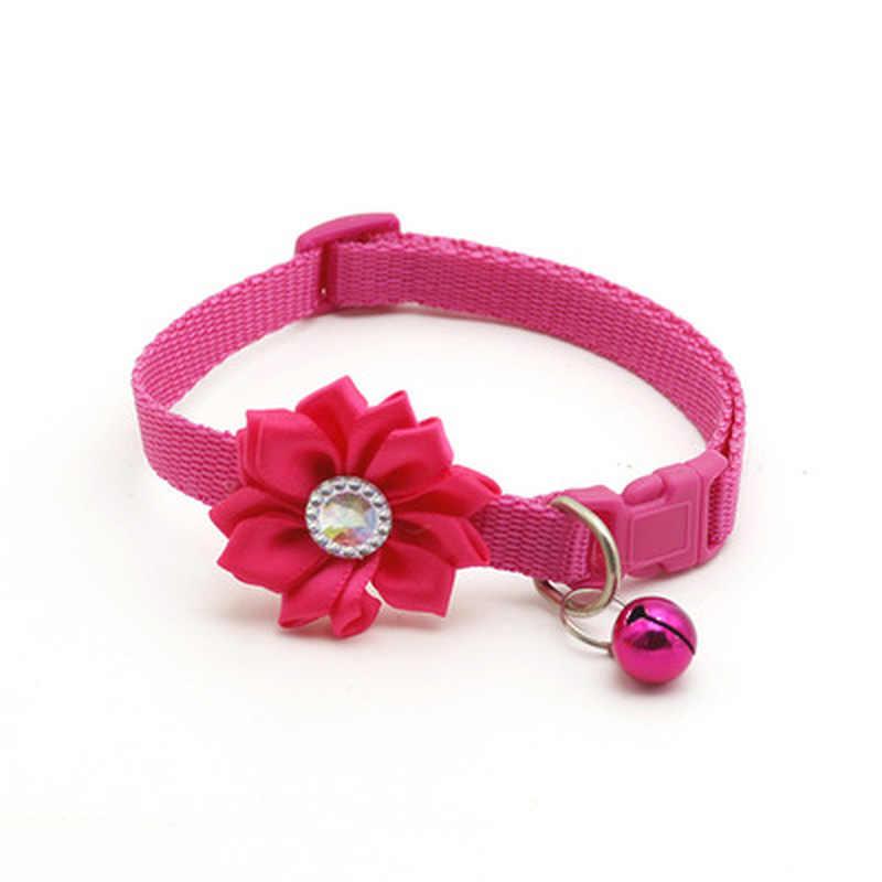 ペットの猫の首輪ベルフラワー調節可能な簡単に摩耗バックル犬の首輪鐘素敵な花猫ネックレスペット用品猫のアクセサリー